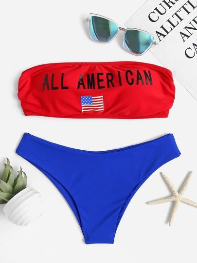 Contrast Letter Print Tie Back Bikini Set