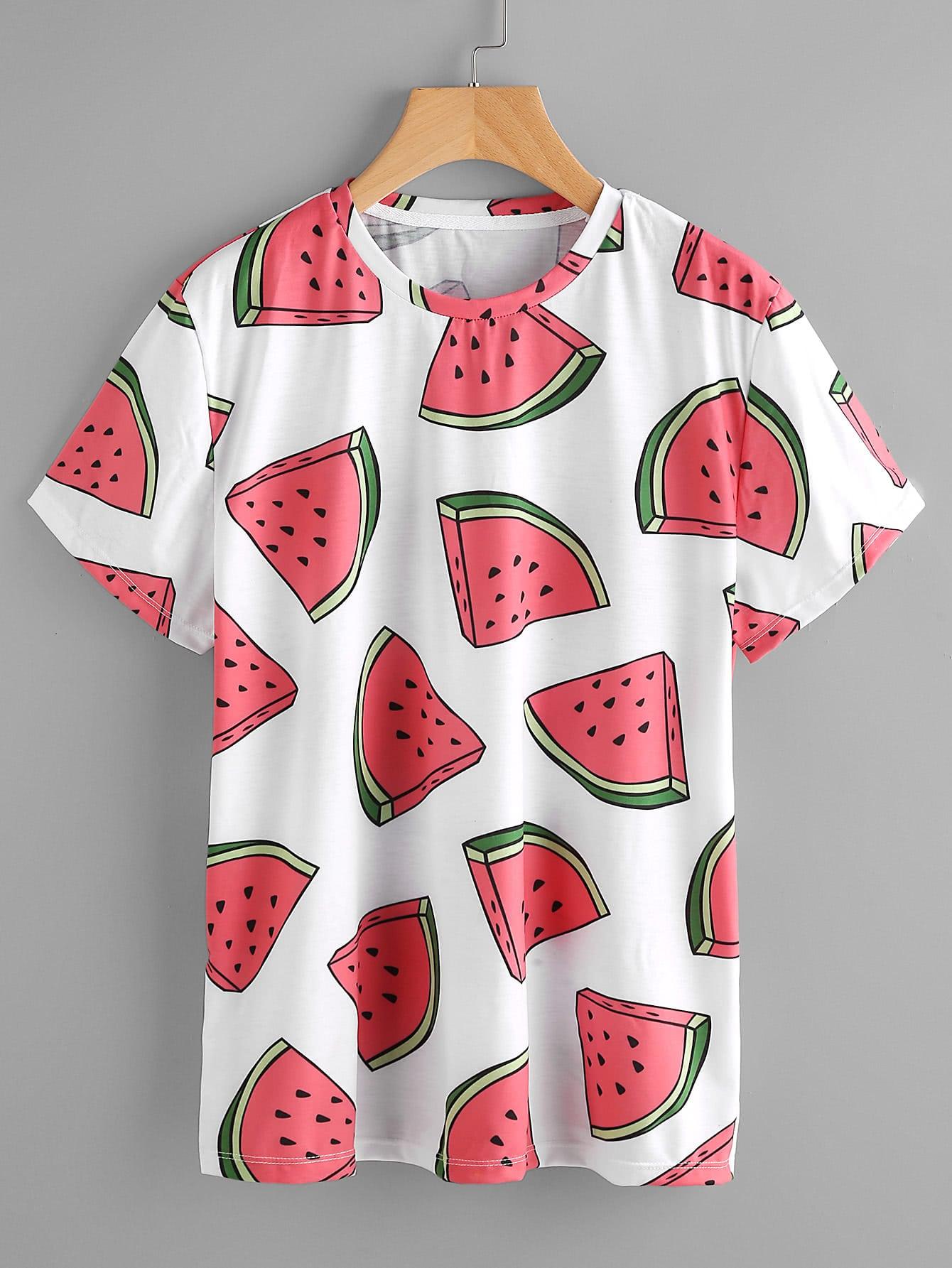 Camiseta Estampa de Melancia