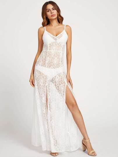 Double Strap M-Slit Lace Nightdress