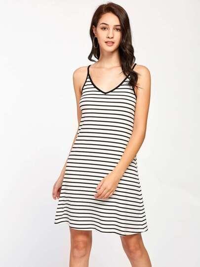 Tie Up V Back Striped Cami Dress
