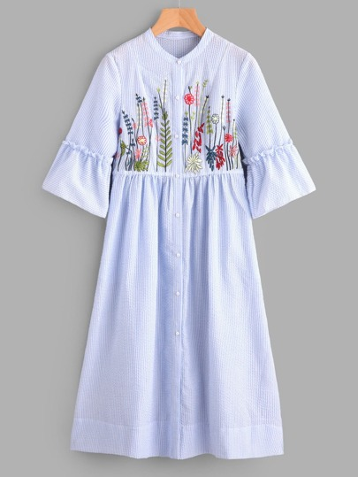 Frilled Sleeve Botanical Embroidered Smock Shirt Dress