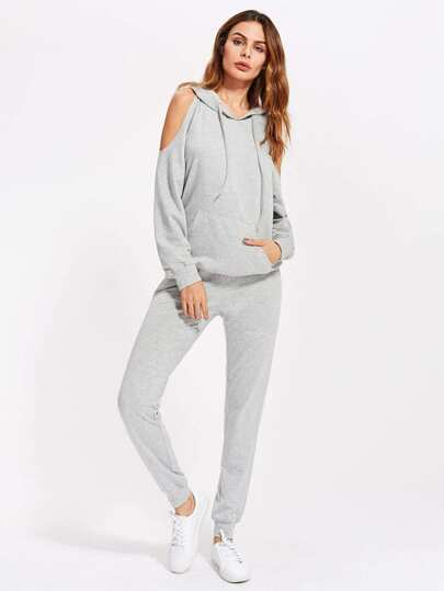 Open Shoulder Heathered Hoodie With Sweatpants Set