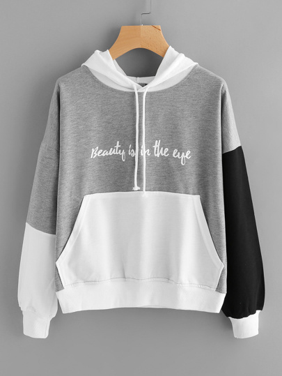 Color Block Slogan Print Kangaroo Pocket Hoodie