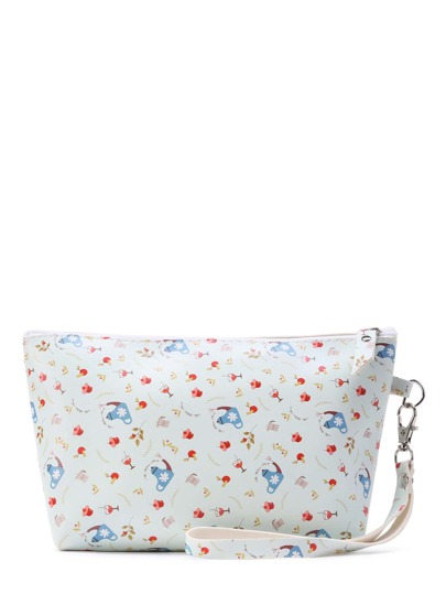 Mixed Print Accessory Pouch With Wristlet
