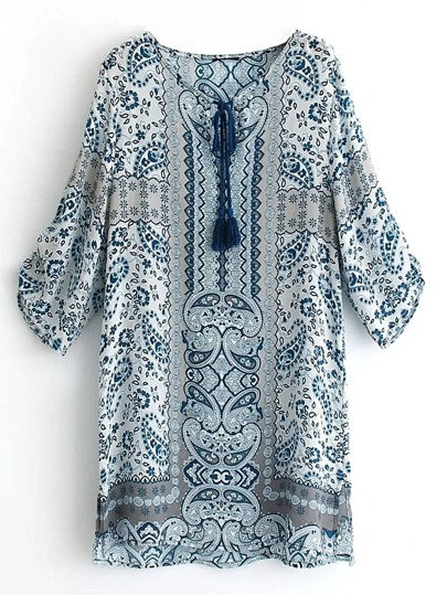 Paisley Print Tassel Tie Shift Dress