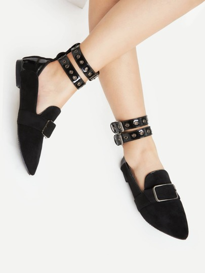 Buckle Front Flats With Eyelet Strap