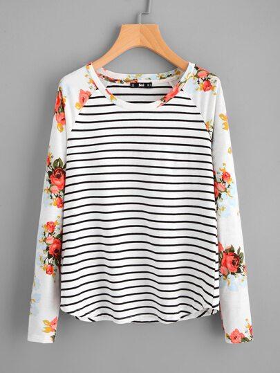 Camiseta de rayas con manga floral de raglán con bajo curvo