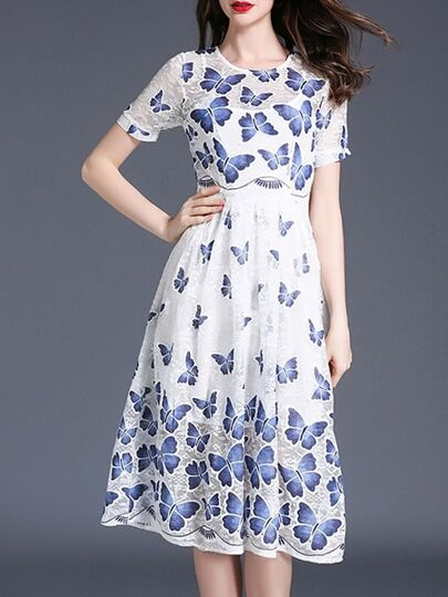 Butterfly Print Lace Dress