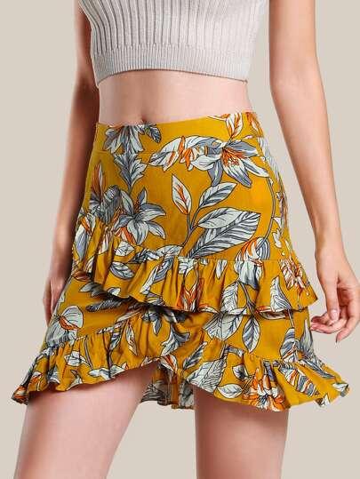 Flower Print Asymmetric Frill Skirt
