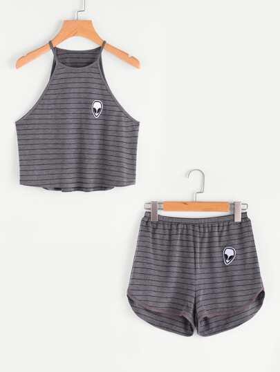 Conjunto de pijama con parche con tiras en la parte lateral