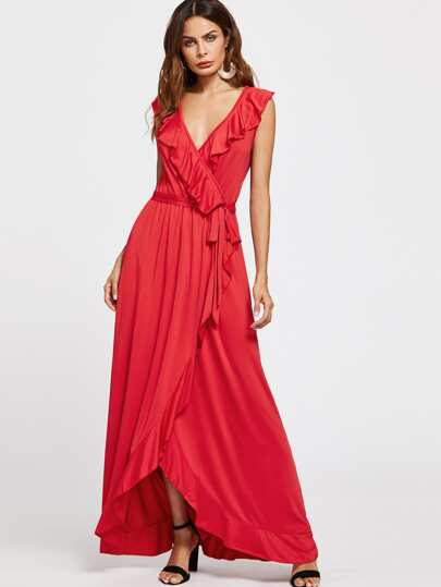 Exaggerated Frill Surplice Front Self Tie Dress