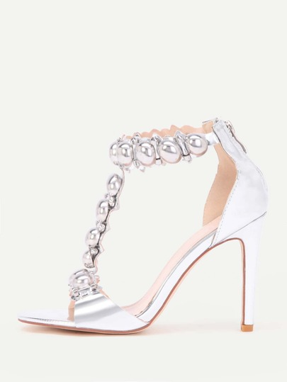 Metallic T Strap High Heels