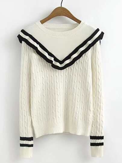 Contrast Striped Ruffle Trim Cable Knit Sweater
