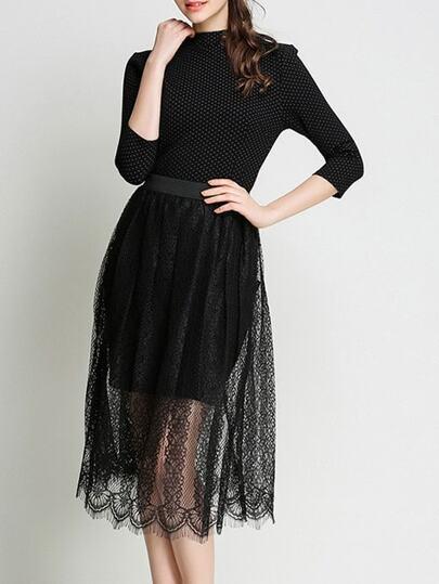 Polka Dot Lace Skirt Two-piece Dress