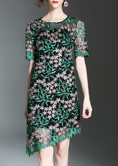 Leaves Gauze Embroidered Asymmetric Dress