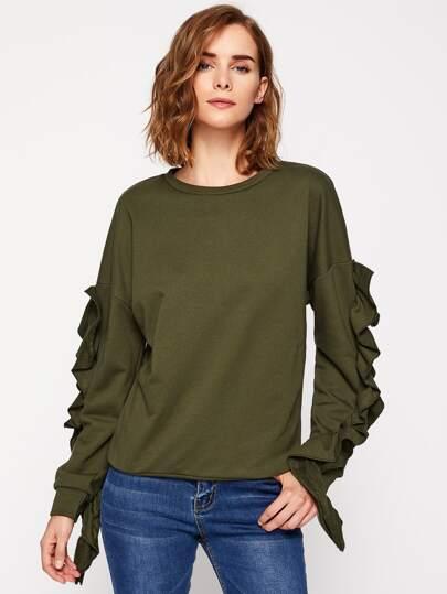Drop Shoulder Frilled Pullover