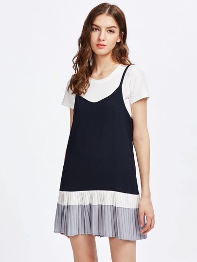 Contrast Pleated Hem 2 In 1 Cami Dress