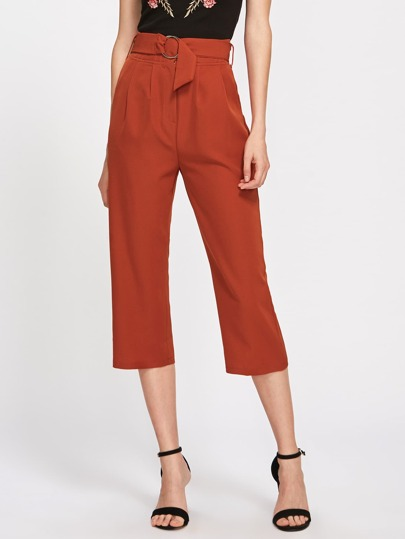 Brick Red Capri Pants With Double O-Ring Belt