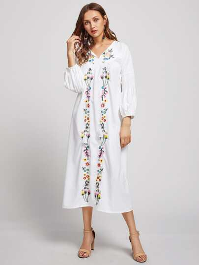 Flower Embroidered Shirred Lantern Sleeve Dress