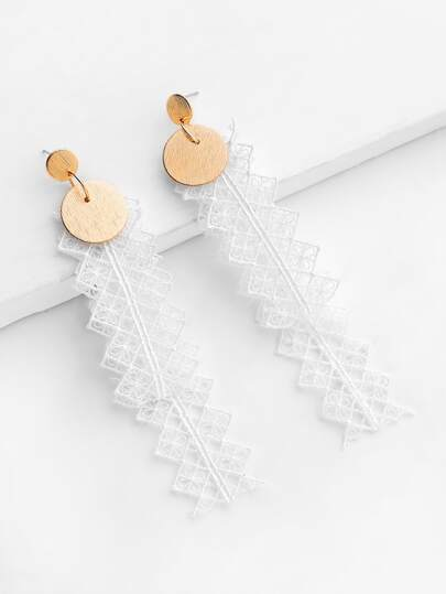 Lace Drop Earrings With Sequin Detail