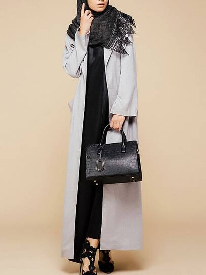 Abaya long avec poche et boucle