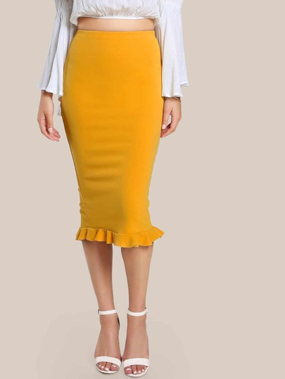 Split Ruffle Hem Bodycon Skirt MUSTARD
