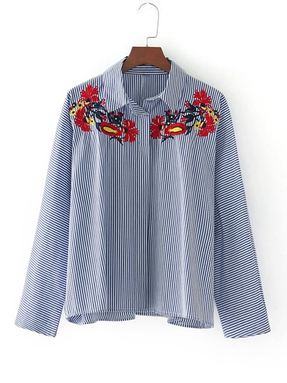 Embroidery Cut Out Cuff Pinstripe Blouse