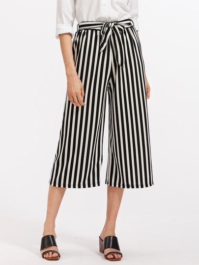 Contrast Striped Self Tie Wide Leg Pants