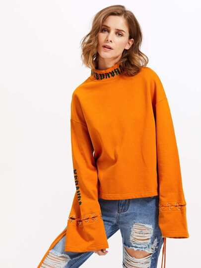 Zip Back Eyelet Lace Up Sleeve Sweatshirt