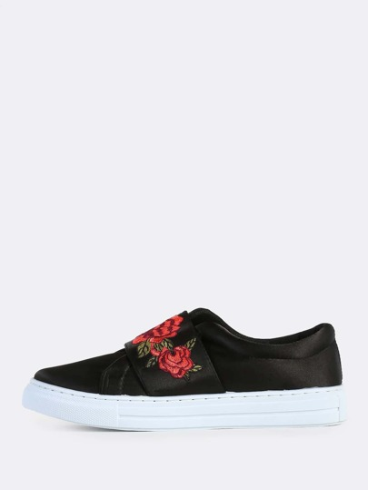 Satin Velcro Strap Floral Embroidered Sneakers BLACK