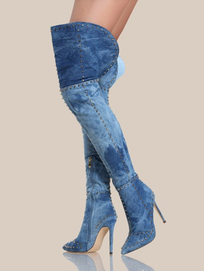 Acid Wash Gold Studded Thigh High Heels DENIM