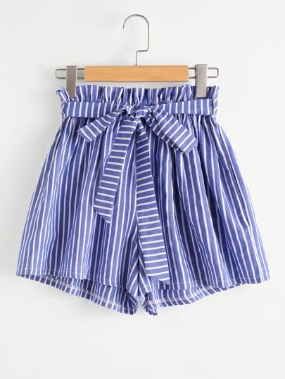 Vertical Striped Frill Waist Self Tie Shorts