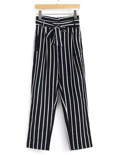 Tie Waist Vertical Striped Pants