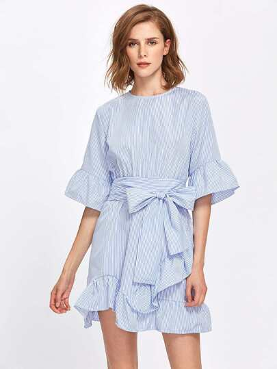Pinstriped Frill Trim Self Tie Dress