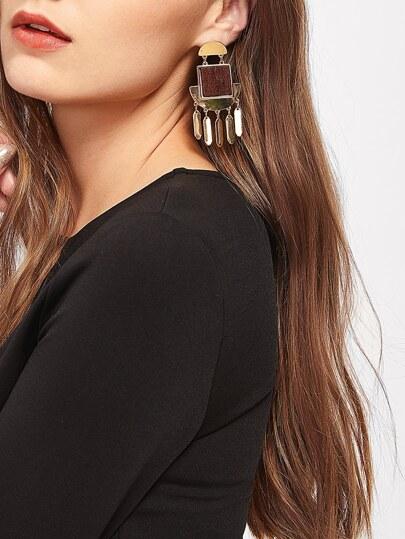Boucles d'oreille géométrique avec bois carré