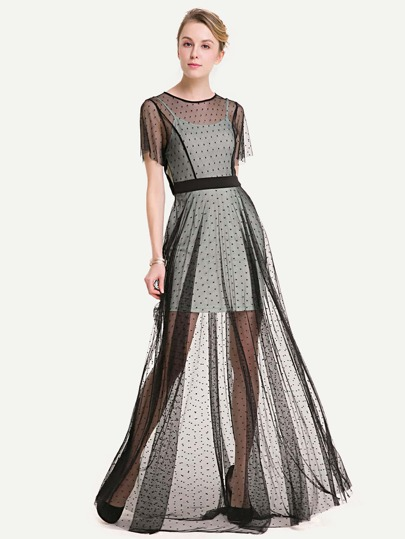 See-Through Dobby Mesh Overlay Dress