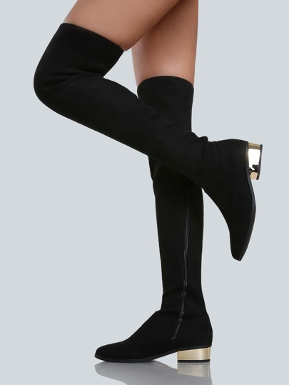 Zip Up Thigh High Gold Heel Boots BLACK