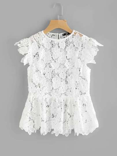 See Through Floral Guipure Lace Top