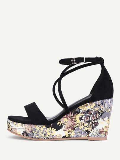 Criss Cross Calico Print Wedge Sandals