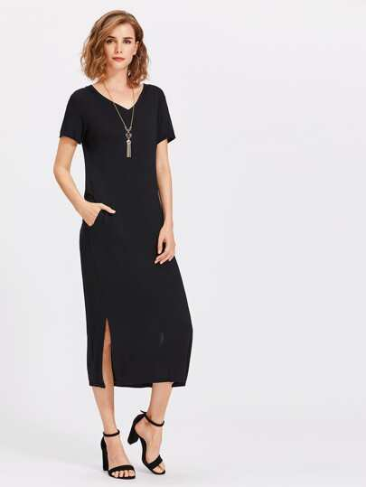 V Neckline Slit Side Tee Dress