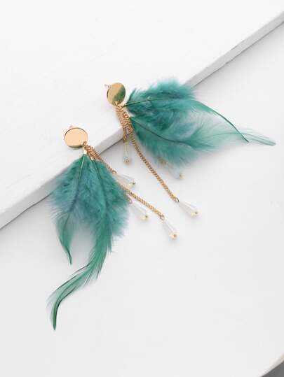 Feather And Chain Design Drop Earrings