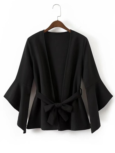 Asymmetric Bell Sleeve Blazer With Self Tie