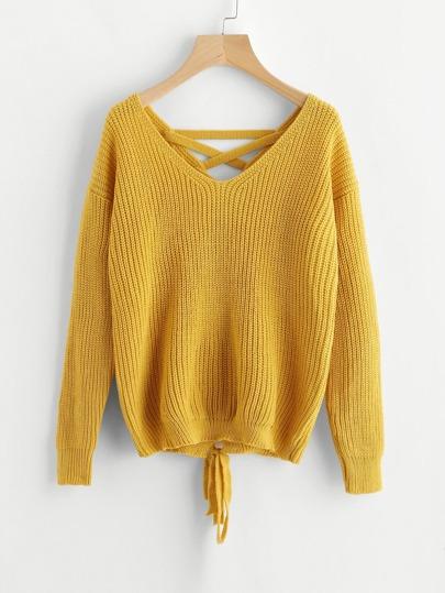 Maglione con laccetti sul retro