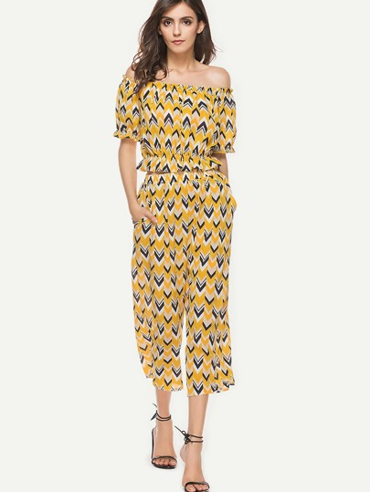 Frill Trim Bardot Printed Top With Wide Leg Pants