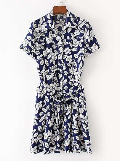 Floral Shirt Dress With Self Tie