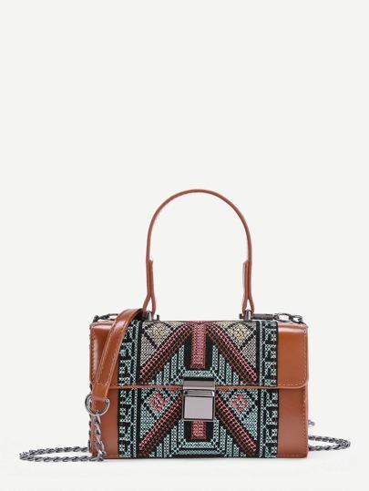 Braided Detail Pushlock PU Bag With Handle