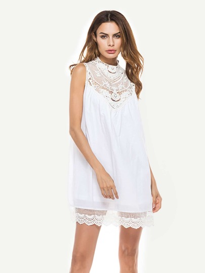 Hollow Out Crochet Panel Dress