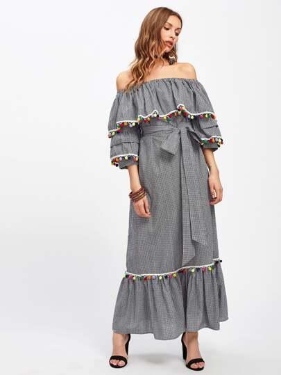 Pom Pom Trim Self Tie Frill Bardot Dress