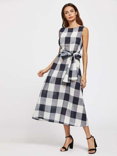 Self Tie Checked Dress