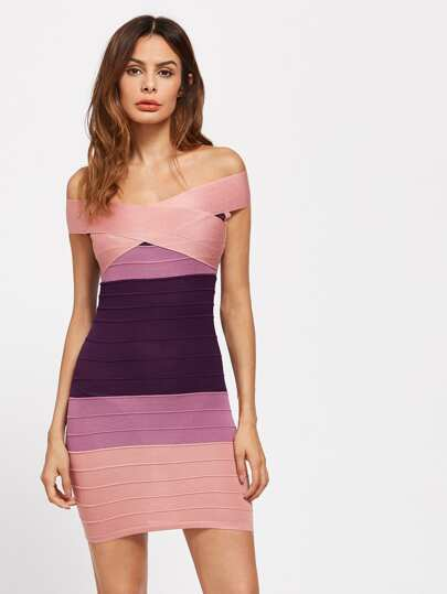 Bardot Cross Front Ombre Bandage Dress